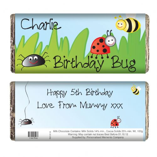 Personalised Birthday Bug Chocolate Bar